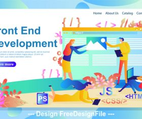 Business front end development cartoon illustration vector