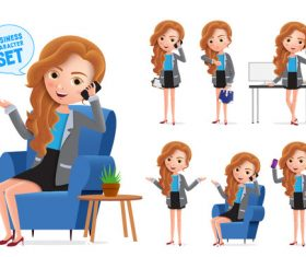 Business girl office mult illustration vector