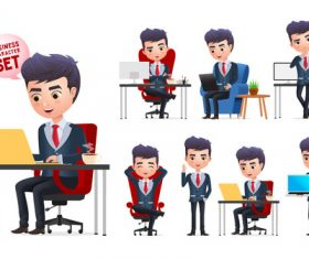 Business man illustration set vector