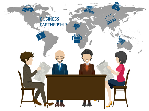 Business partnership template illustration vector