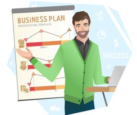Business plan template illustration vector