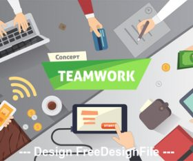 Business teamwork template illustration vector