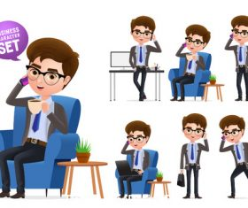 Busy business man illustration set vector