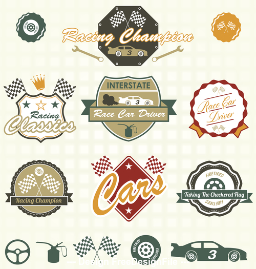 Car and flag label vector