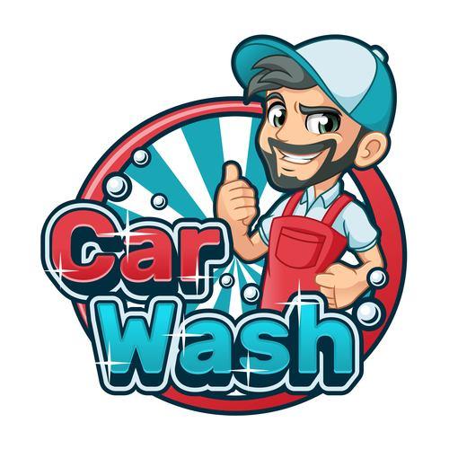 Car wash cartoon logo vector
