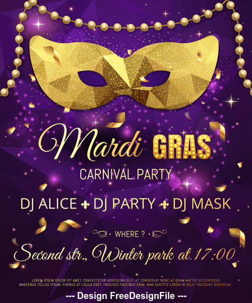 Carnival masked party dance flyer vector