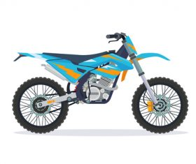 Cartoon Extreme motorcross bike cyan vector
