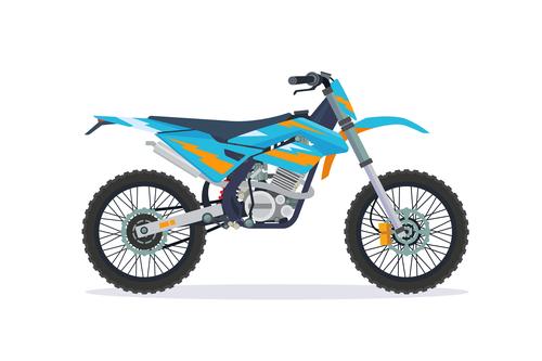 Cartoon Extreme motorcross bike cyan vector