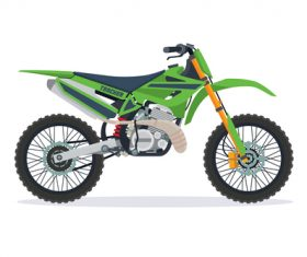 Cartoon Extreme motorcross bike green vector