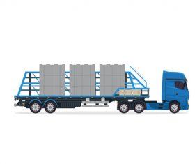 Cartoon Industrial trailer truck vector