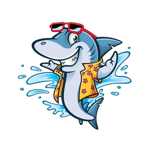 Cartoon Shark Beach vector
