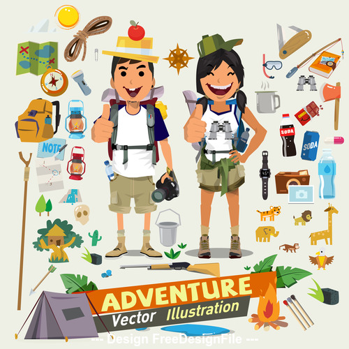 Cartoon adventure illustration vector