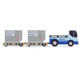 Cartoon airport freight car vector