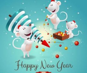 Cartoon background 2020 happy new year illustration vector