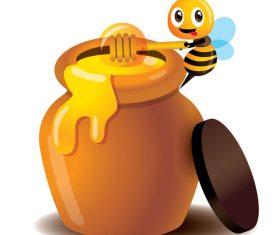 Cartoon bee and honey pot vector