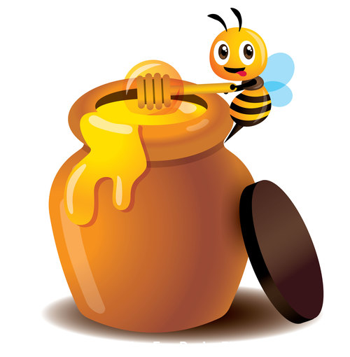 Cartoon bee and honey pot vector free download