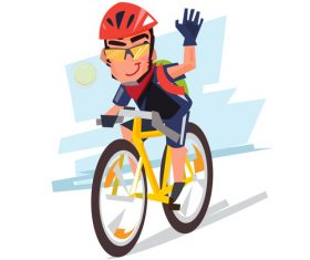 Cartoon boy riding bicycle illustration vector