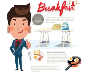 Cartoon breakfast illustration vector