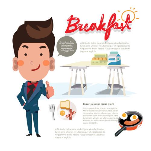 Cartoon breakfast illustration vector