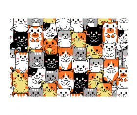 Cartoon cats pattern background vector