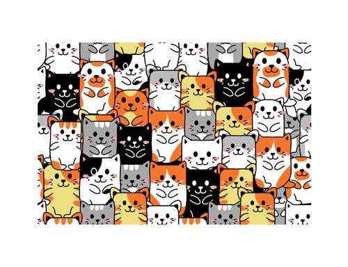 Cartoon cats pattern background vector