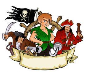 Cartoon character pirate illustration vector
