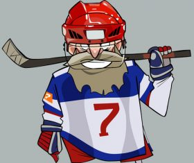 Cartoon comical bearded hockey player with hockey stick vector