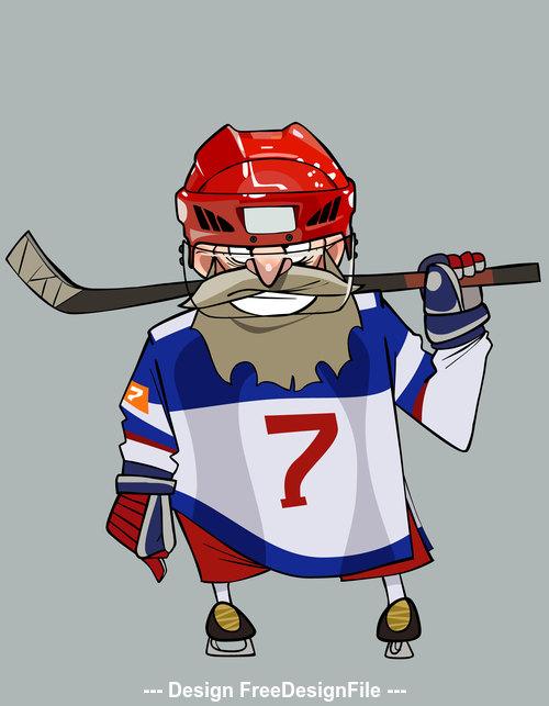 Cartoon comical bearded hockey player with hockey stick vector