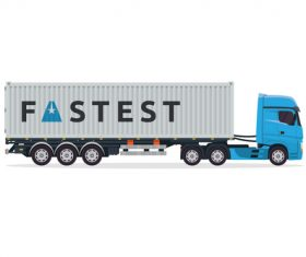 Cartoon container truck vector