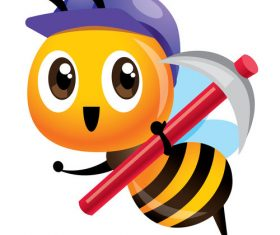 Cartoon cute bee purple vector