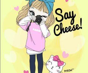 Cartoon cute girl vector