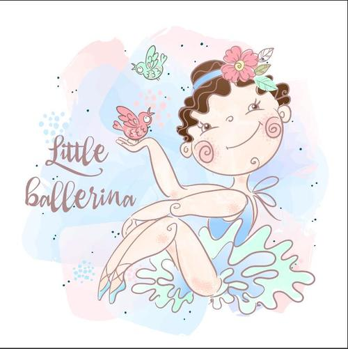 Cartoon cute little girl and bird vector