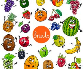 Cartoon expressions various fruits vector