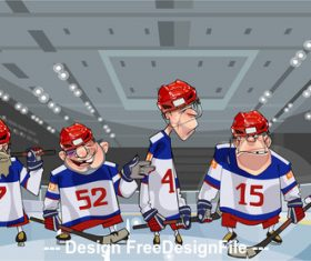 Cartoon five funny hockey players on the ice vector