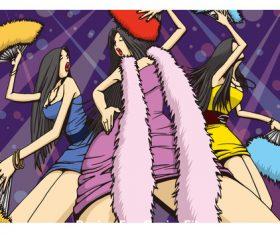 Cartoon girl jumping disco vector