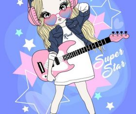 Cartoon girl playing guitar vector