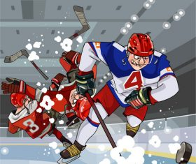 Cartoon hockey players play hockey on the ice vector
