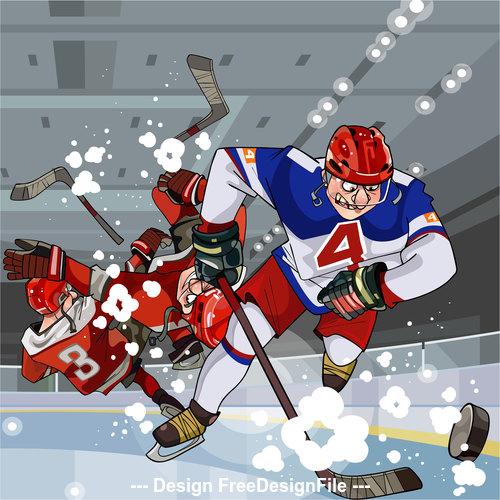 Cartoon hockey players play hockey on the ice vector