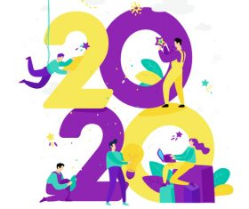 Cartoon illustration Happy 2020 year vector