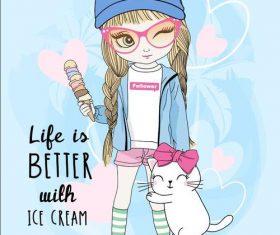 Cartoon illustration cute girl and kitten vector