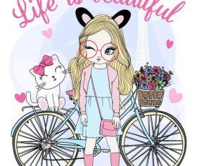Cartoon illustration cute girl vector