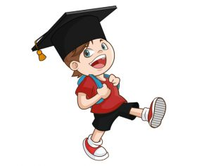 Cartoon illustration of schoolboy wearing graduation cap vector