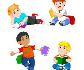 Cartoon illustration reading book student vector