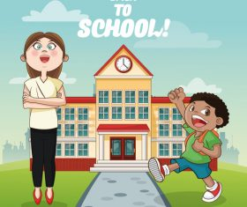 Cartoon illustration vector after school