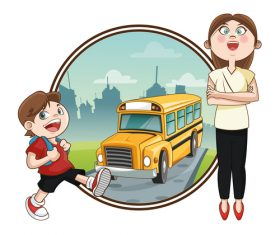 Cartoon illustration vector of pupil and teacher
