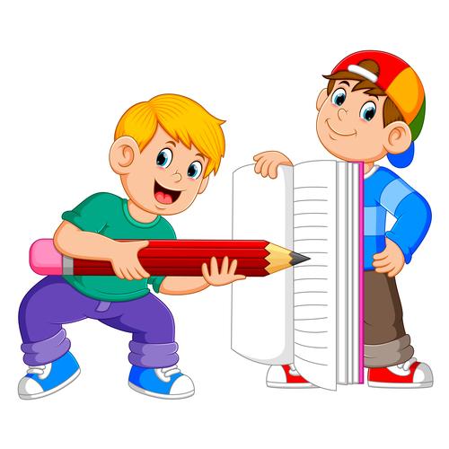 Cartoon illustration writing little boy vector