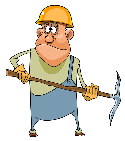 Cartoon man working in a helmet and with pick vector