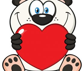 Cartoon mascot holding valentine love heart vector