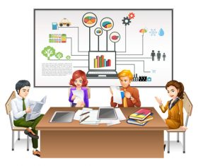Cartoon office template illustration vector