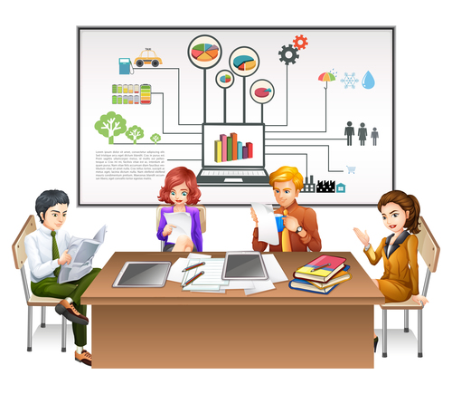 Cartoon office template illustration vector